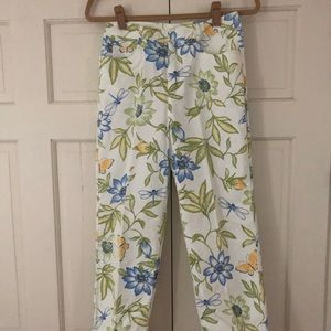 Talbots floral green/blue printed stretch pants 4